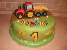 Tractor cake Tractor Birthday Cakes, 4th Birthday Cakes, Baby Boy Cakes, Cakes For Boys, Birthday Cake Decorating, Cake Decorating Tips, Digger Cake, Mcqueen Cake, Cake Templates