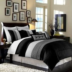 Interior Black White And Gray Bedroom Ideas chocolate brown and blue bedding our beach home pinterest online shopping experts legacy decor modern black white grey luxury stripe comforter set bed in bag queen size bedding