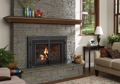 Quickly and easily replace your wood fireplace with a new gas insert. Enjoy controllable heat at the push of a button; Pellet Stove Inserts, Insert Stove, Gas Insert, Fireplace Gallery, Fireplace Design, Fireplace Ideas, Fireplace Pictures, Fireplace Update, Fireplace Mantles