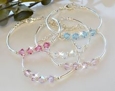 bracelets how to make Swarovski Crystal Bangles/Girls/Women Crystal bangles are made with swarovski crystals and an adjustable chain. Cute for weddings and casual wear. Can add an initial for Custom sizes and colors available Bracelet Swarovski, Swarovski Jewelry, Crystal Bracelets, Crystal Jewelry, Bangle Bracelets, Beaded Jewelry, Swarovski Crystals, Bangle Set, Pearl Bracelet