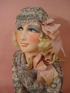 Doll Salon OF BED Old Vintage Boudoir Doll Doll 1925 30 ART Deco Mode   eBay