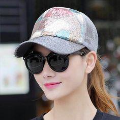 Geometric sequins baseball cap for women UV protection trucker caps