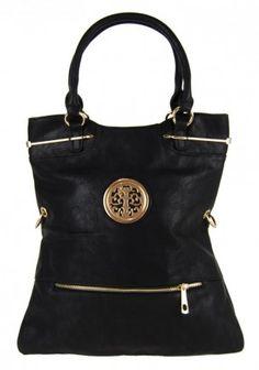 Moderní kabelka do ruky se zlatými doplňky C005 černá - Kliknutím zobrazíte detail obrázku.