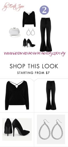 """""""2nd Outfit - 5 Outfits Based On  Black Cold Shoulder Strappy Batwing Top"""" by evitaigou on Polyvore featuring River Island, Boohoo, Avenue and La Regale"""