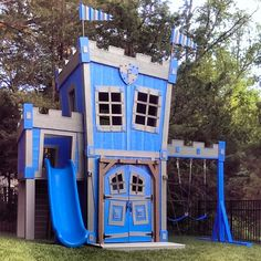 Incredible Castle w swings, slide, secret passage, built in shelves, table, two story, personalized, and more...
