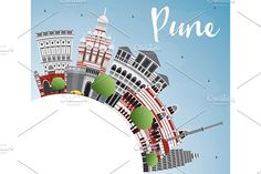 Pune Skyline Graphics Pune Skyline with Color Buildings, Blue Sky and Copy Space. Business Travel and by Igor Sorokin Black And White City, Skyline Silhouette, Usa Cities, Skyline Art, Travel And Tourism, Pune, Business Travel, Travel Posters, Buildings