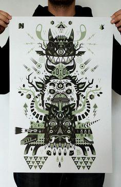Totem - Silkscreen print by Seb NIARK1 FERAUT, via Behance