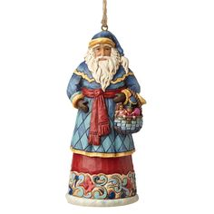 4053831 Santa With Basket (Hanging ornament)- With his basket of toys and bright red sash this Santa is an eye-catching centerpiece to your holiday display #Festive #Christmas #Santa