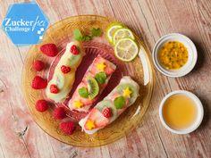 Rezept für Kokosmilchreis und fruchtige Sauce. Süße Sommerrollen sind der Hingucker auf dem Frühstückstisch. Klick hier für das Rezept!
