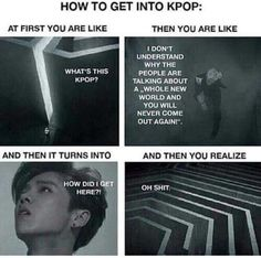 My experience was not like this I hated kpop and than I watched exo next door because of my cousin(I thank you)and how can I not fall for chanyeol and innocent d. And than I did some digging K Pop, Fangirl Problems, Kdrama Memes, Bts Memes Hilarious, Xiuchen, 2ne1, Over Dose, Day6, Kpop Groups