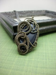 Midnight Blue Agate Wire Wrapped Pendant by BuyThePlaceWithBeads, $30.00