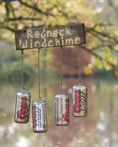 redneck wind chimes, crafts, gardening, repurposing upcycling  I would use coke cans instead.