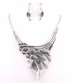 """Silvertone Black Leaf Statement Necklace and Earring Set /16"""" + 2"""" Extension CFG Online,http://www.amazon.com/dp/B00FZUVK9A/ref=cm_sw_r_pi_dp_CBLmtb1BMZ3K2B4Z"""