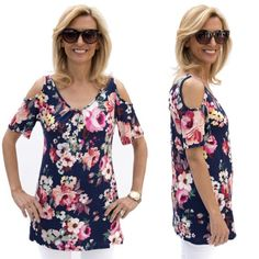 Just looking at this top makes me happy with all the beautiful flowers. It is perfect to wear now and take it into early fall to wear under a jacket. Only$48.00 plus Free US Shipping www.jacketsociety.com