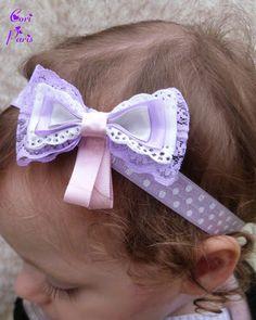 Baby headband CORI PARIS - large ribbons bow, purple model Bandeau cheveux bébé CORI PARIS - large noeud en rubans, modèle mauve