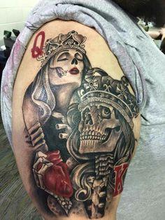 Ommmggg Skull Thigh Tattoos, Leg Tattoos, Body Art Tattoos, Sleeve Tattoos, Partner Tattoos, Couple Tattoos, Tattoos For Guys, 3d Butterfly Tattoo, Hourglass Tattoo