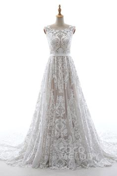 Chic A-Line Bateau Natural Court Train Elastic Satin Tulle and Lace Sleeveless Zipper Wedding Dress with Appliques and Sashes LD5484 #weddingdress #cocomelody #customdresses #bridalgowns #dreamdress #alinedress # LD5484