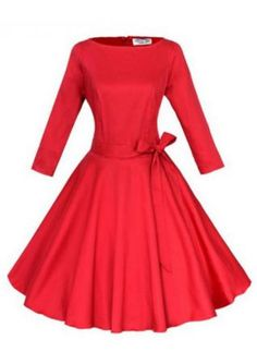 63cb7668ee4 A-Line Crewneck Pleated Dress With Belt Swing Dress