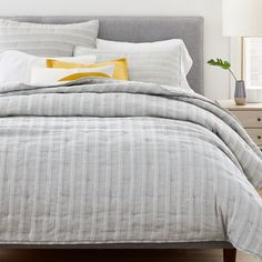 There are a million reasons to love this Hemp & Cotton Hazy Stripe Coverlet & Shams. Sustainably grown and Fair Trade Certified™, our breathable hemp is blended with organic cotton for bedding that's textured and soft—and… Cotton Clouds, Room Planning, Cotton Bedding, Stripes Fashion, Cotton Sheet Sets, Bed Styling, West Elm, Furniture Decor, Modern Furniture