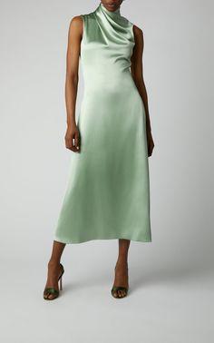 Brandon Maxwell Draped Silk-Satin Midi Dress in Green Red Silk Dress, Green Midi Dress, Satin Midi Dress, Draped Dress, Satin Dresses, Nice Dresses, Short Dresses, Dresses With Sleeves, Silky Dress