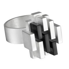"#Buy > Björn Weckström for Lapponia Jewelry (FI), ""Manhattan"" modernist sterling silver and onyx ring. ―  Follow Finland & Scandi Jewelry  ―facebook ● pinterest ● subscribe"