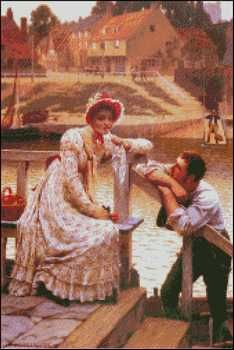 Courtship - Edmun Blair Leighton.  Fine art cross stitch pattern.  Stitch count 169w x 253h 43 colors http://www.artofstitching.com/index.php?main_page=product_info&cPath=4_18&products_id=177