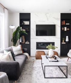 neutral modern living room with marble fireplace, black and white living room decor, Leclair Decor ( Living Room Modern, Home Living Room, Interior Design Living Room, Black Sofa Living Room Decor, Modern Room Decor, Living Room Ideas Black And White, Cool Living Room Ideas, Interior Livingroom, Cozy Living