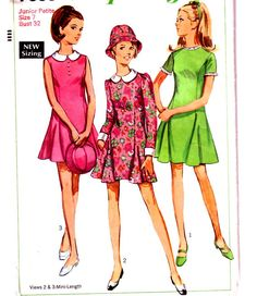 1960's Junior Petites dress with hat, detachable collar and cuffs. Peter Pan collar dress. Vintage sewing pattern for 60's mini. £5.00  www.hurdyburdy.etsy.com