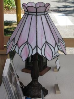 Pink Lily Lamp - Stained Glass