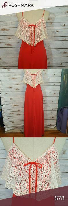 "{vintage} Red maxi with lace flounce detail Circa 70s red polyester blend maxi dress with adjustable spaghetti straps and cream lace flounce detail at chest which wraps around back. Zip up back. Excellent condition. Material has stretch. No tags.  Bust- 17"" flat Waist- 14"" flat Hips- 22"" flat Length- from top of bust to hem- 55"" Vintage Dresses Maxi"