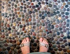 Polished Mixed River Pebble Tile floor - All Natural tile flooring products