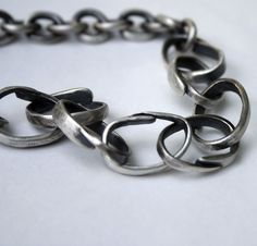 Made from sterling silver fork tines! Recycled Sterling Silver Bracelet  - Fork It Over. #stonz on Etsy.