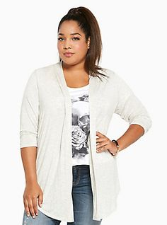 372794ba543 Knit Open Front Cardigan Plus Size Shirts
