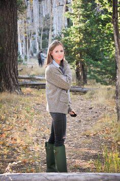 Fall Camping Trip - Hunter Original Adjustable Back Boots in Green
