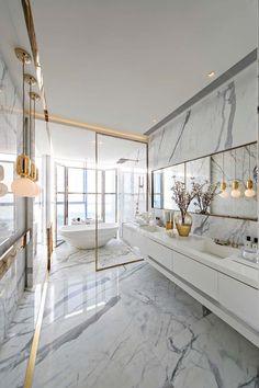 Bathroom Interior Design, Modern Interior Design, Luxury Interior, Interior Architecture, Design Interiors, Modern Interiors, Luxury Decor, Marble Interior, Gold Interior