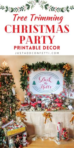Create a fun and inviting Tree Trimming Christmas party with my Just Add Confetti printable decor. This theme is so fun for the holidays! Don't forget to check out all of the Christmas party foods, appetizers, party ideas, DIY holiday crafts and other printable gift ideas. Head to justaddconfett.com for even more Christmas party ideas, DIY decorations, printables, gift ideas & recipes.