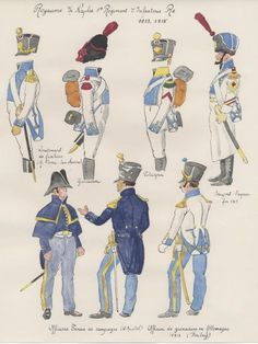 Naples; 1st Line Infantry 1813-15. top Row, Fusilier Officer, Grenadier, Voltigeur & Spper Sergeant. Bottom Row Two officiers in tenue de campaign and Grenadier Officer in Germany 1813