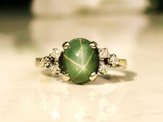 Vintage Diamond & Green Star Sapphire Ring 14K White Gold Diamond Wedding Ring Vintage Cocktail Ring!