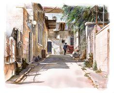 Jerusalem Street Scene | Chava Roth Judaica Art Gallery