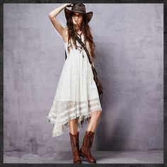 KEERQW Summer Bohemian Vintage O-Neck Lace Embroidery Vest Irregular Long Dress Elegant Casual Beach White Lace Maix Dress