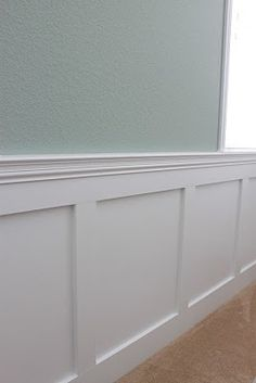 Wainscoting- ok- so now I am obsessing over ripping out all the downstairs chair railing and baseboards and putting up wainscoting throughout.. love flat panel- cottage look.  Mike is scared...