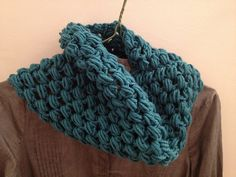 Ravelry: Susiee's Chunky Teal Cluster Cowl from free pattern here: http://www.crochetspot.com/crochet-pattern-chunky-cluster-cowl/