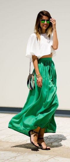 Screaming for green and maxi skirts!