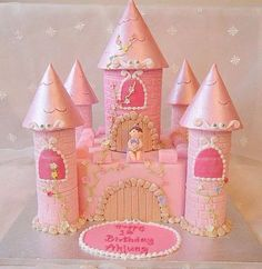 Castle cake for baby& first birthday Castle Birthday Cakes, 1st Birthday Cake For Girls, Baby First Birthday, Princess Birthday, Castle Cakes, Fairy Castle Cake, Pink Castle, Princess Party, Birthday Ideas