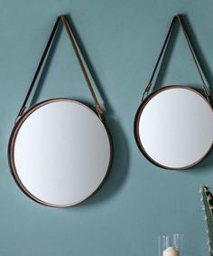 The Forest & Co. Set Of Two Round Mirrors With Faux Leather Straps - Trouva Gold Vanity Mirror, Gold Framed Mirror, Copper Mirror, Metal Mirror, Mirror Set, Black Mirror, Mirrors With Leather Straps, Gold Sunburst Mirror, Industrial Wall Mirrors