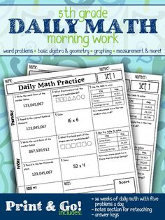 Daily Math Morning Work for 5th grade includes spiraled skills to support mastery of the standards. Students practice patterns, algebraic reasoning, fractions, word problems, and so much more.