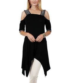 Look at this Black & Silver Off-Shoulder Handkerchief Tunic on #zulily today!