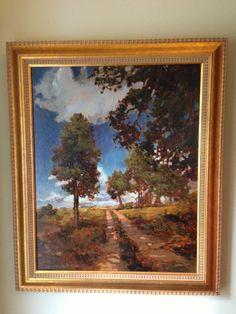 Jan Schmuckal - Tonalist Impressionist Artist - Dirt country road, oaks, beautiful sky