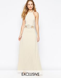 Image 1 ofJarlo Aden High Neck Maxi Dress With Lace Insert