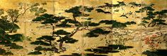 Pine Grove by the Seashore. Muromachi Period, 16th century. Folding screen. Important Cultural Property of Japan. TOKYO NATIONAL MUSEUM.